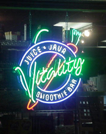 Neon sign repair Metairie business Vitality Smoothie Bar