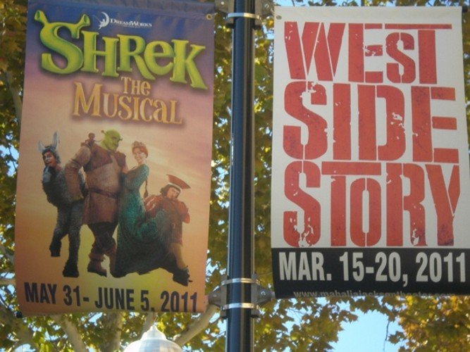 Boulevard banners in New Orleans for West Side Story show at Mahalia Jackson Theater