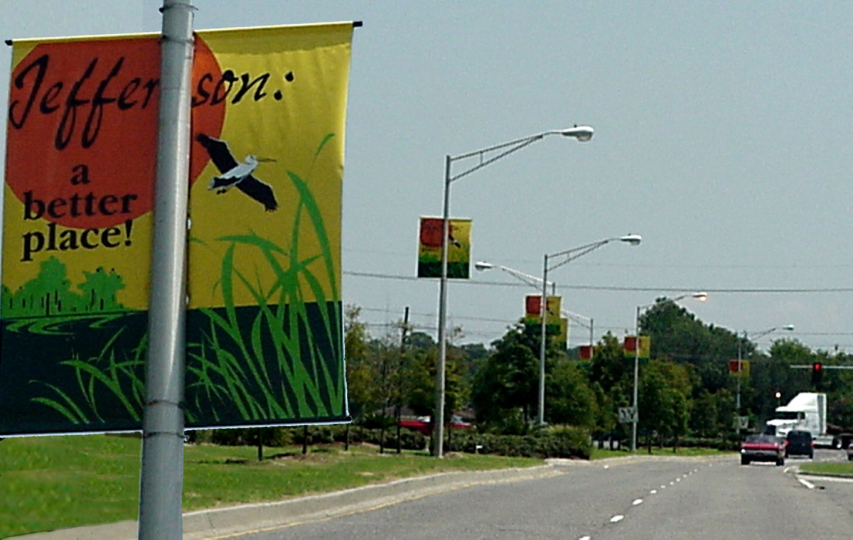 Custom boulevard banners for Bayou Segnette made and installed