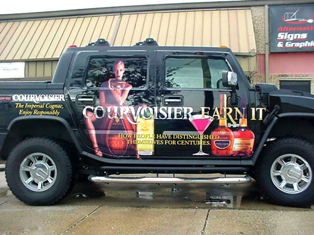 Vinyl graphics installed and made for Courvoisier Hummer