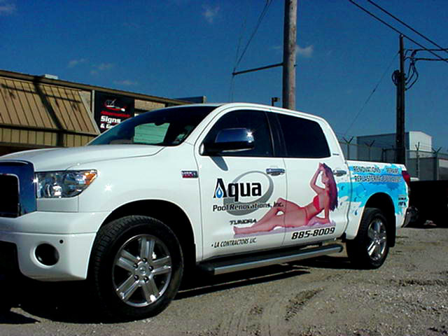 Install vehicle graphics for Aqua Pool