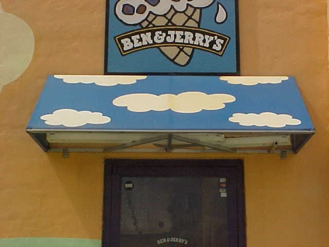 Awnings made in Metairie Louisiana for Ben and Jerrys Ice Cream