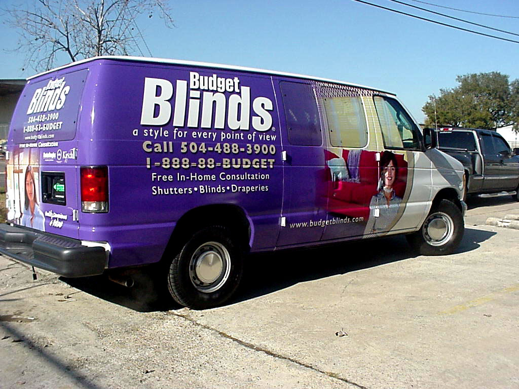 Vehicle wrap for Budget Blinds Metairie Louisiana