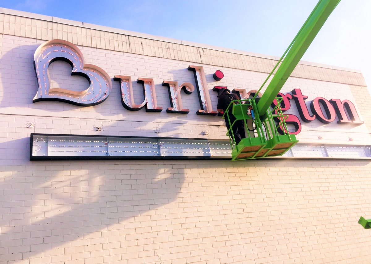 Sign installation Kenner channel letters for Burlington Coat Factory