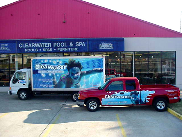 Install vehicle wrap for fleet in Covington for Clearwater Pools
