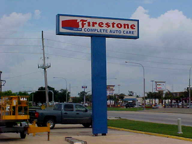 Large pole sign installation in Slidell Louisiana at Firestone