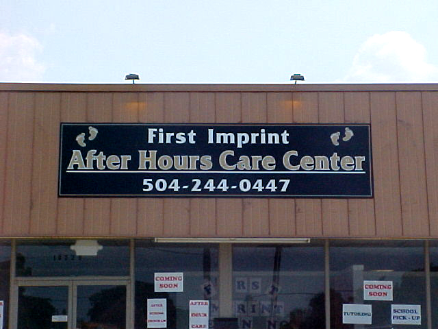 Install sign New Orleans aluminum sign made for First Imprint