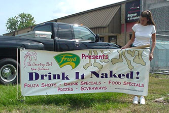 Promotional banners made in Harahan for Fruja products