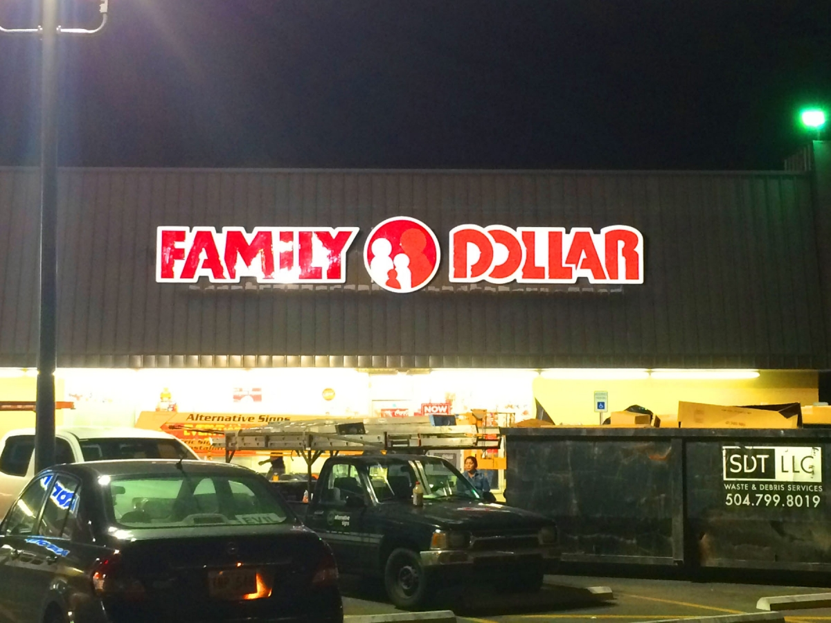Sign installed New Orleans Louisiana channel letter sign for Family Dollar