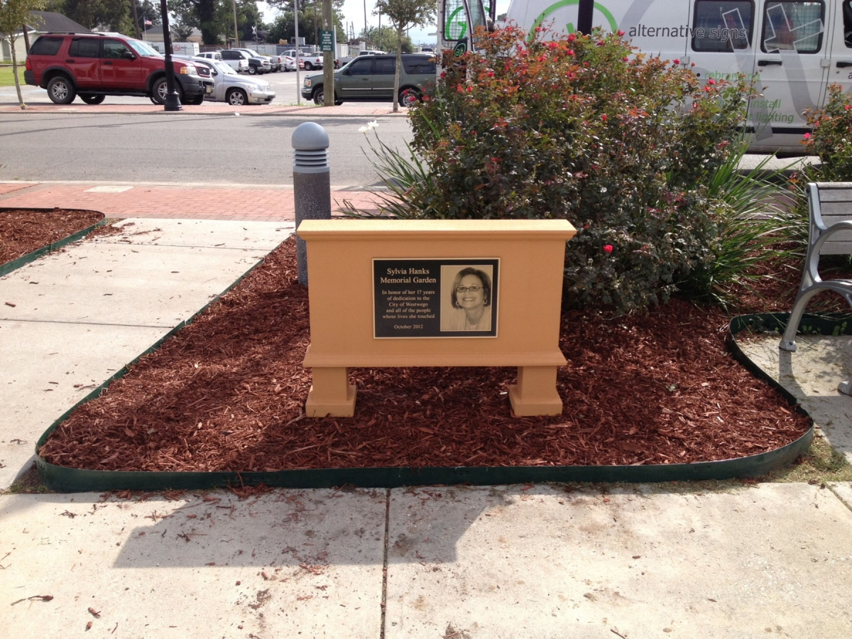 Bronze plaque manufactured for Westwego memorial