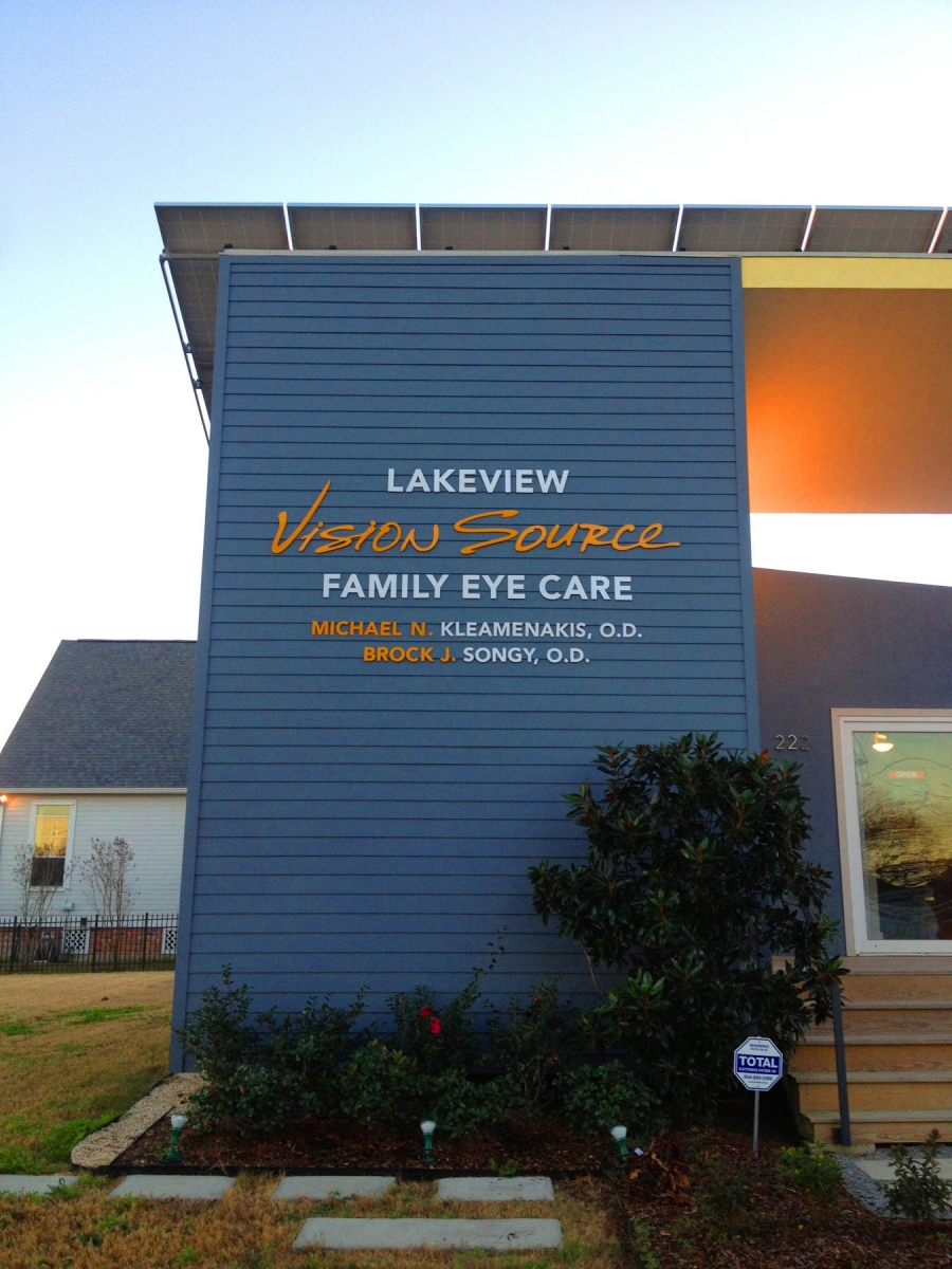 Sign installed in New Orleans metal dimensional letters for Lakeview Vision Source