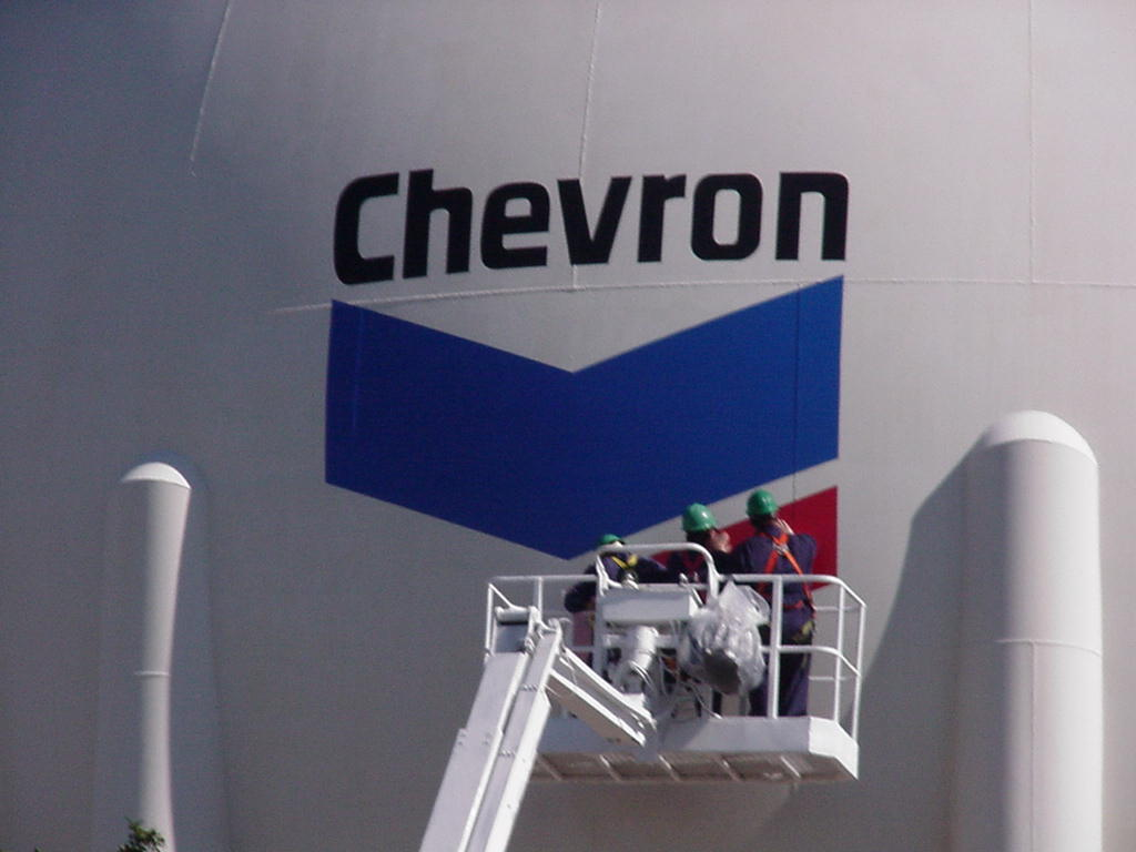 Vinyl graphics installation for industrial application at Chevron plant in Belle Chasse