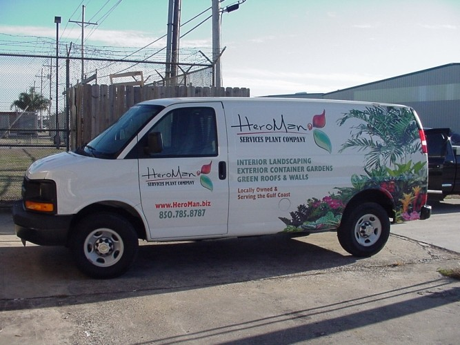 Installation of vehicle wrap for New Orleans based company Heroman Services