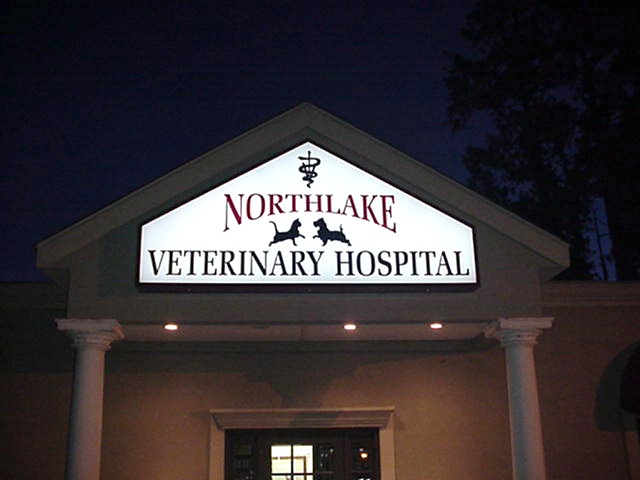 Backlit sign in Covington Louisiana made and installed for Northlake Veterinarian Hospital