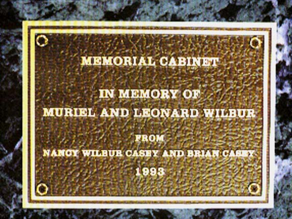 Bronze plaque made and installed for Wilbur memorial in New Orleans