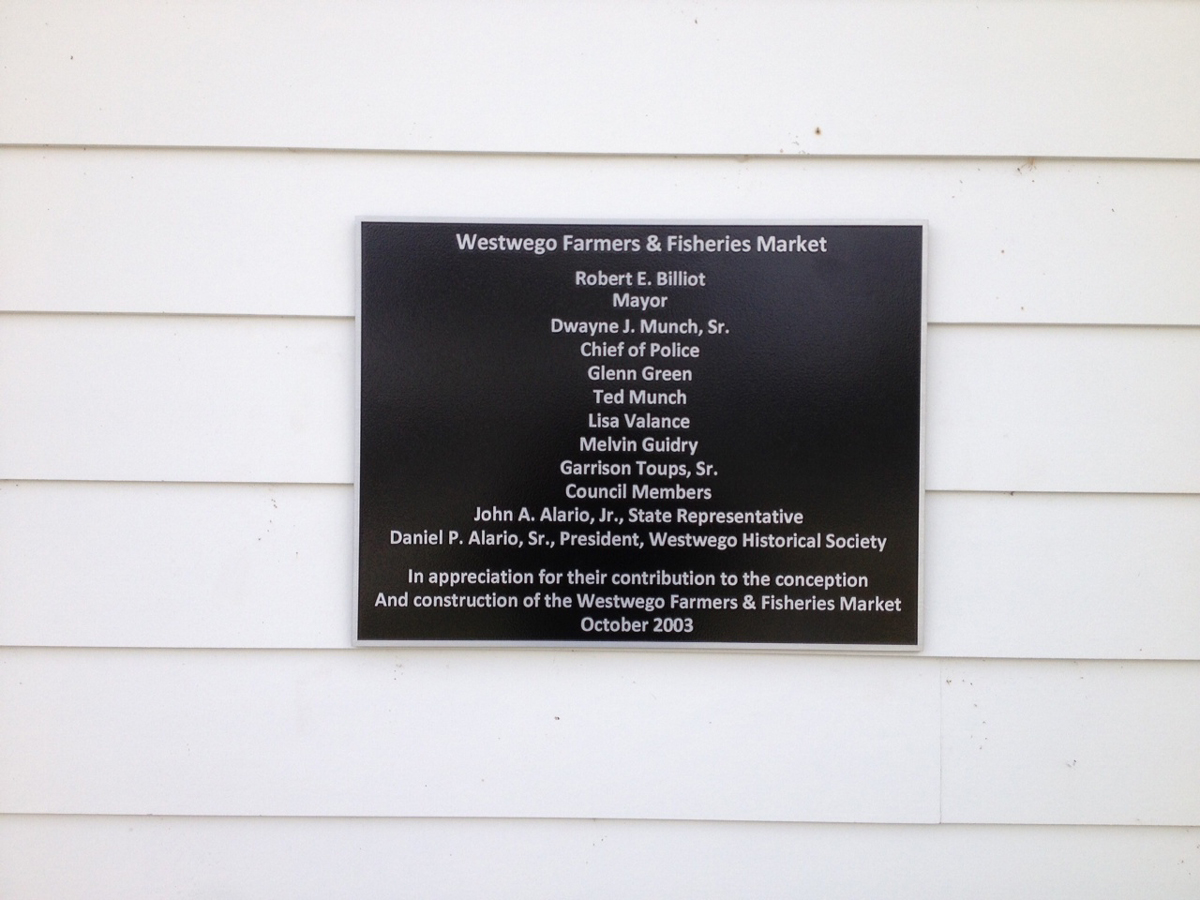Aluminum contribution recognition plaque for Westwego Farmers and Fisheries Market