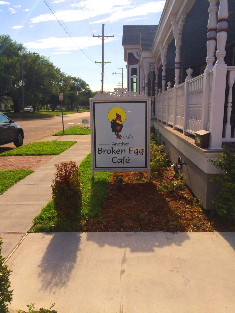 Sign installed in New Orleans freestanding sign Another Broken Egg Café