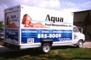 Vinyl graphics made and installed for Aqua Pool box truck