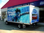 Vehicle graphics installation for Clearwater Pools box truck